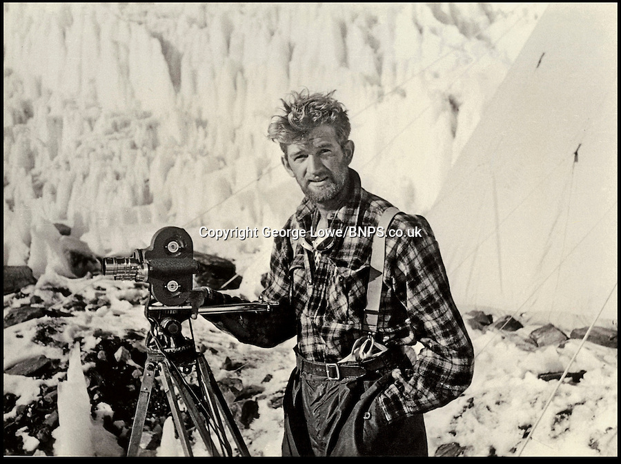 BNPS.co.uk (01202) 558833.Pic: George Lowe/Thames&Hudson..***Must Use Full Byline***..Photographing and filming on Everest was 'an unexpected delight and real honour for' George Lowe..Never-before-seen photographs of the famous British Mount Everest conquest in 1953 have come to light 60 years after the historic ascent...The snaps were taken by expedition member George Lowe who documented the historic first ever trek to the summit of the world's tallest peak...Many of Lowe's photographs have been widely published before but these eight images were kept by Lowe, possibly because he thought the others were better...Now, nearly 60 years to the day Sir Edmund Hillary became the first man in the world to conquer Everest, the pictures have been made available for a new book to commemorate the feat.