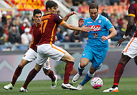 Calcio, Serie A: Roma vs Napoli. Roma, stadio Olimpico, 25 aprile 2016.<br /> Napoli&rsquo;s Gonzalo Higuain, right, is challenged by Roma&rsquo;s Ervin Zukanovic, center, and Diego Perotti during the Italian Serie A football match between Roma and Napoli at Rome's Olympic stadium, 25 April 2016.<br /> UPDATE IMAGES PRESS/Riccardo De Luca
