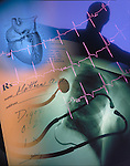 medical composite with chest x-ray, heart, prescription, human silhouette