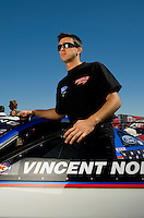 Sept. 5, 2010; Clermont, IN, USA; NHRA pro stock driver Vincent Nobile during qualifying for the U.S. Nationals at O'Reilly Raceway Park at Indianapolis. Mandatory Credit: Mark J. Rebilas-