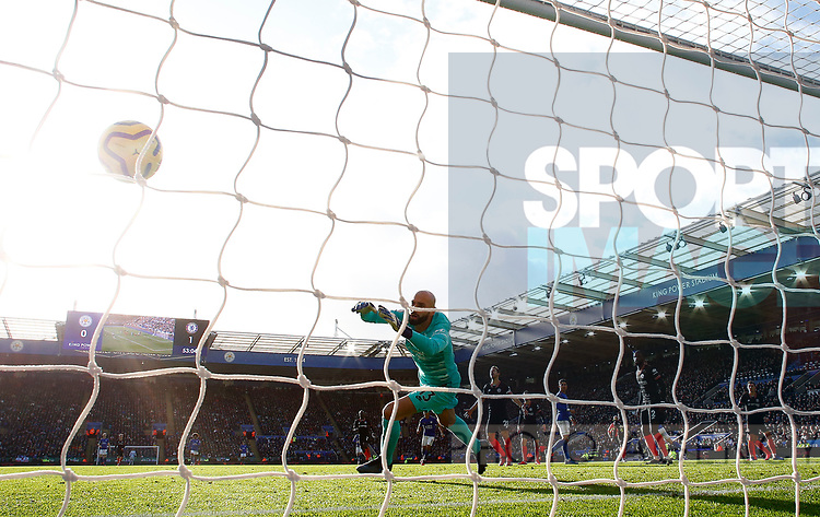 Willy Caballero of Chelsea watches as Harvey Barnes of Leicester City scores during the Premier League match at the King Power Stadium, Leicester. Picture date: 1st February 2020. Picture credit should read: Darren Staples/Sportimage