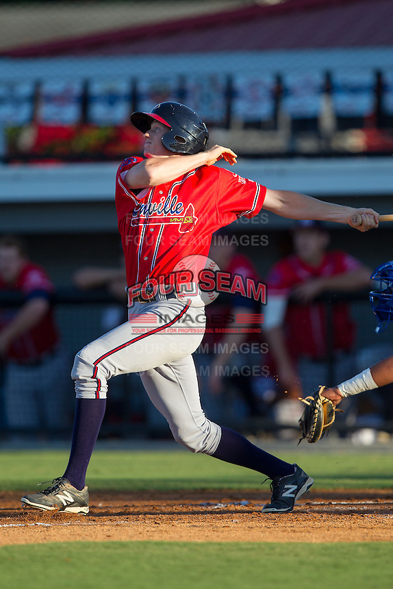 Sean Godfrey (25) of the Danville Braves follows through on his swing against the Burlington Royals at Burlington Athletic Park on July 5, 2014 in Burlington, North Carolina.  The Royals defeated the Braves 5-4.  (Brian Westerholt/Four Seam Images)