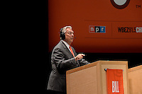 Scorekeeper, Bill Kurtis, addresses the Wait Wait... Don't Tell Me crowd at the Overture Center, Thursday, 6/19/14, in Madison, Wisconsin
