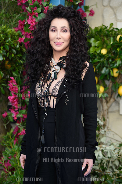 "Cher arriving for the ""Mama Mia! Here We Go Again"" world premiere at the Eventim Apollo, Hammersmith, London, UK. <br /> 16 July  2018<br /> Picture: Steve Vas/Featureflash/SilverHub 0208 004 5359 sales@silverhubmedia.com"
