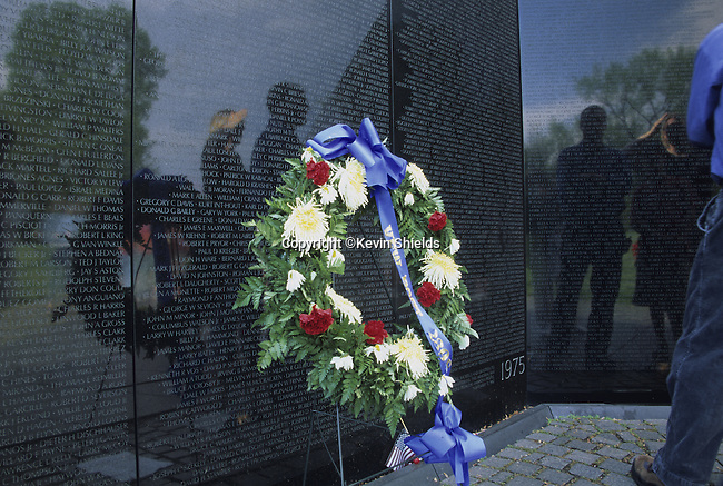 Vietnam Veterans Memorial in Washington, D.C., USA composed of two polished granite triangles inscribed with the names of the casualties of the Vietnam War.