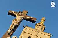 Virgin Statue and Jesus-Christ on Cross (Licence this image exclusively with Getty: http://www.gettyimages.com/detail/93187586 )