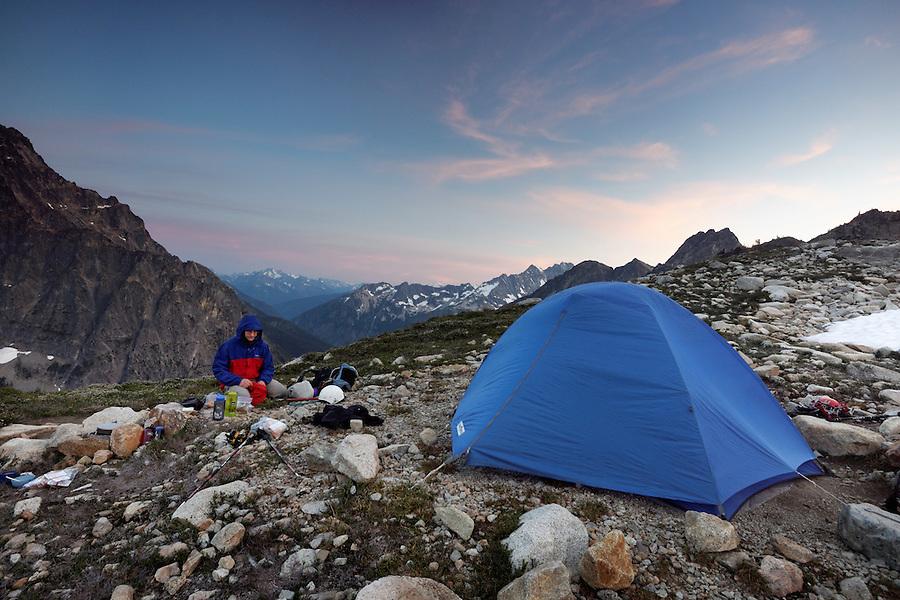 Backpackers camp at Fisher Lakes, North Cascades National Park, Skagit County, Washington, USA