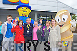 Peter Foley, Sarah O'Connor Michael Fears, Bridie Sweeney, Sheila Twomey and Ciara Irwin Foley with Mr Lidl and Mr Bread roll at the reopening of Lidl in Killarney on Friday