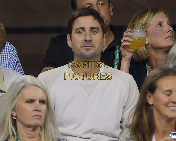 FLUSHING NY- AUGUST 30:  Luke Wilson is seen watching Eugenie Bouchard Vs Barbora Zahiavova Strycova on Arthur Ashe stadium at the USTA Billie Jean King National Tennis Center on August 30, 2014 in Flushing Queens. <br /> CAP/MPI/MPI04<br /> &copy;MPI04/MPI/Capital Pictures