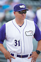 Winston-Salem Dash pitching coach J.R. Perdew (31) prior to the game against the Salem Red Sox at BB&T Ballpark on May 31, 2015 in Winston-Salem, North Carolina.  The Red Sox defeated the Dash 6-5.  (Brian Westerholt/Four Seam Images)