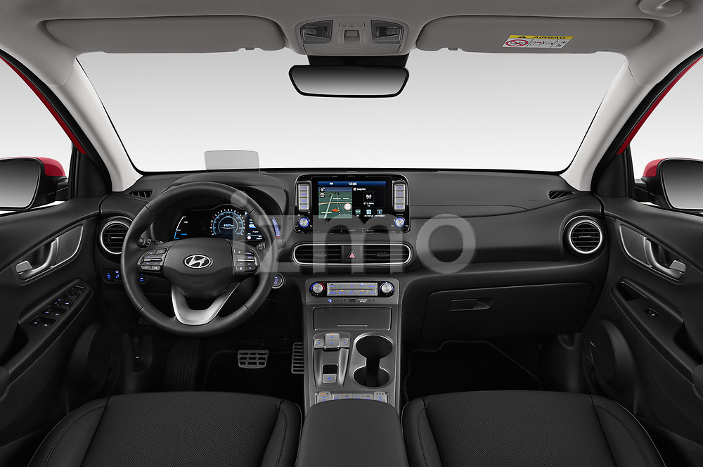 Stock photo of straight dashboard view of a 2019 Hyundai Kona EV Sky 5 Door SUV
