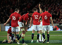 Lions players challenge referee Romain Poite over an All Blacks penalty, which he then changed to a scrum, during the 2017 DHL Lions Series rugby union 3rd test match between the NZ All Blacks and British & Irish Lions at Eden Park in Auckland, New Zealand on Saturday, 8 July 2017. Photo: Dave Lintott / lintottphoto.co.nz