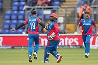 Rashid Khan (Afghanistan) celebrates the wicket of Kusal Perera (Sri Lanka)  during Afghanistan vs Sri Lanka, ICC World Cup Cricket at Sophia Gardens Cardiff on 4th June 2019