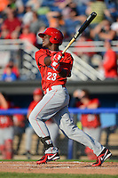 Auburn Doubledays designated hitter Jean Valdez #23 at bat during a game against the Batavia Muckdogs on June 18, 2013 at Dwyer Stadium in Batavia, New York.  Batavia defeated Auburn 10-2.  (Mike Janes/Four Seam Images)
