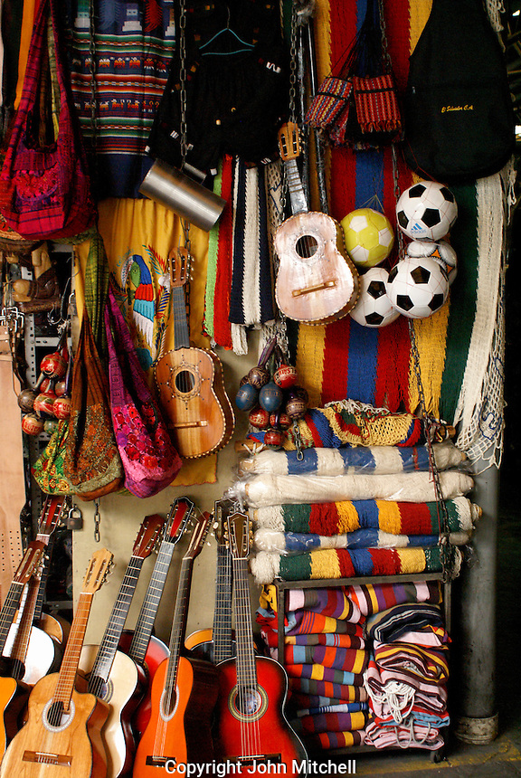 Guitars and other Salvadoran handicrafts for sale in the Excuartel Market in downtown San Salvador, El Salvador