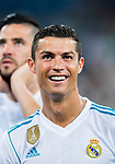 Cristiano Ronaldo of Real Madrid celebrates after the Santiago Bernabeu Trophy 2017 match between Real Madrid and ACF Fiorentina at the Santiago Bernabeu Stadium on 23 August 2017 in Madrid, Spain. Photo by Diego Gonzalez / Power Sport Images