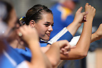 Western Nevada College Wildcats' Kelsie Callahan cheers from the dugout during a preseason softball game against Shasta College in Reno, Nev., on Saturday, Sept. 20, 2014.<br /> Photo by Cathleen Allison