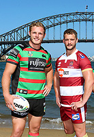 Picture by David Neilson/SWpix.com/PhotosportNZ - 13/02/2018 - Super League NSW Tour - Blues Point Reserve, Sydney, Australia - Rugby League Super League Wigan and Hull in Australia 2018 - Sydney Harbour Bridge Hull FC Mark Minichiello and Wigan Sean O Laughlin - Tom Burgess and Nene McDonald
