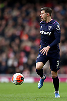 7th March 2020; Emirates Stadium, London, England; English Premier League Football, Arsenal versus West Ham United; Aaron Cresswell of West Ham United