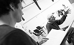 """King Lear"" rehearsed reading rehearsals. Old Vic Theatre. Director: Jonathan Miller. L to R: Tam Williams, Jonathan Miller."