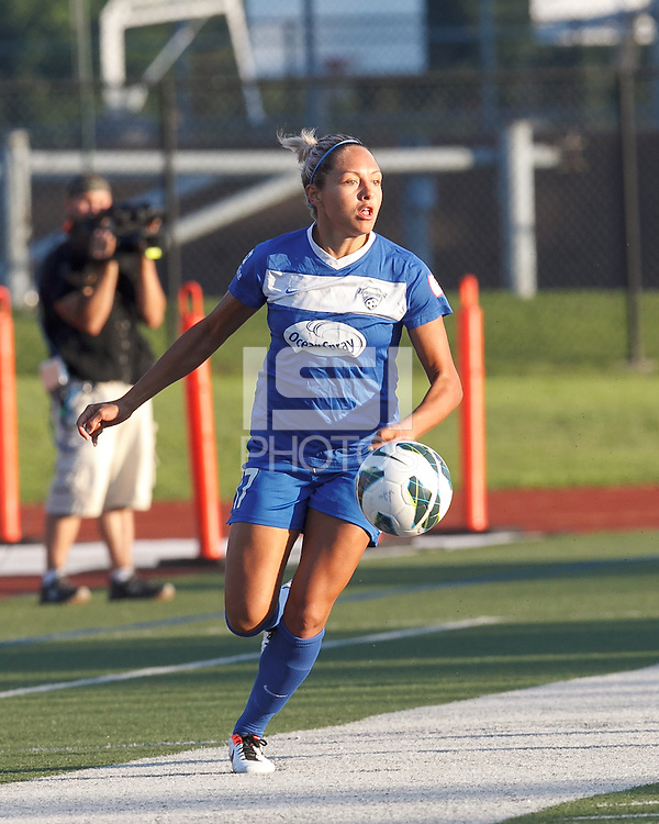 Boston Breakers forward Kyah Simon (17) looks to pass. In a National Women's Soccer League (NWSL) match, Boston Breakers (blue) tied Western New York Flash (white), 2-2, at Dilboy Stadium on August 3, 2013.