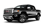 Stock pictures of low aggressive front three quarter view of 2017 GMC Canyon Denali-Crew 4 Door Pickup Low Aggressive
