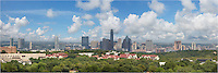 On a September afternoon, soft white clouds drift over the Austin skyline and downtown in the capitol city of Texas. This panorama is made up of three images stitched together. Primonently displayed is the Austonian, the tallest building in Austin (currently). Peaking over a few skyscrapers is the iconic Frost Tower. <br /> <br /> This image is available is sizes up to 30x10 as well as in digital file format.