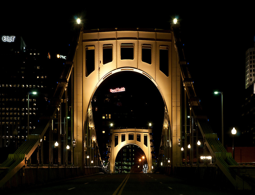 Night view of the Roberto Clemente Bridge, Pittsburgh