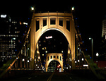 Night view of the Roberto Clemente Bridge, Pittsburgh