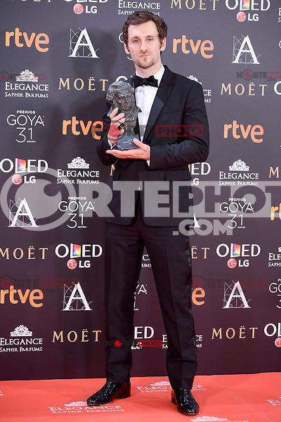 Raul Arevalo pose to the media with the Goya award at Madrid Marriott Auditorium Hotel in Madrid, Spain. February 04, 2017. (ALTERPHOTOS/BorjaB.Hojas) /NORTEPHOTO.COM