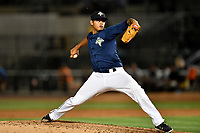 Pitcher Darwin Ramos (33) of the Columbia Fireflies delivers a pitch in a game against  the West Virginia Power on Thursday, May 18, 2017, at Spirit Communications Park in Columbia, South Carolina. Columbia won in 10 innings, 3-2. (Tom Priddy/Four Seam Images)