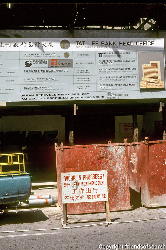 Singapore: Construction site--Tai Lee Bank. Photo '83.