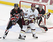 Jacques Perreault, Brian Boyle, Adam Geragosian - The Boston College Eagles defeated Northeastern University Huskies 5-3 on Saturday, November 19, 2005, at Kelley Rink in Conte Forum at Chestnut Hill, MA.