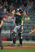 Down East Wood Ducks catcher Sam Huff (28) during a Carolina League game against the Fayetteville Woodpeckers on August 13, 2019 at SEGRA Stadium in Fayetteville, North Carolina.  Fayetteville defeated Down East 5-3.  (Mike Janes/Four Seam Images)