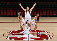 STANFORD, CA - September, 20, 2016: The 2016-2017 Stanford Women's Basketball Team. Alanna Smith, Marta Sniezek, Shannon Coffee, Alexa Romano