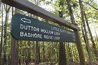 NWA Democrat-Gazette/FLIP PUTTHOFF<br />Signs direct riders to the Bashore Loop      Sept. 1 2017     and other loops that are part of the Hidden Diversity multi-use trail at Hobbs.