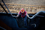 Mechanical shop operator Michael Rocha, climbs onto a locomotive in a Union Pacific repair yard in Roseville, Calif., November 8, 2011. Rocha has worked at Union Pacific for ten years..CREDIT: Max Whittaker/Prime for The Wall Street Journal.HIRE