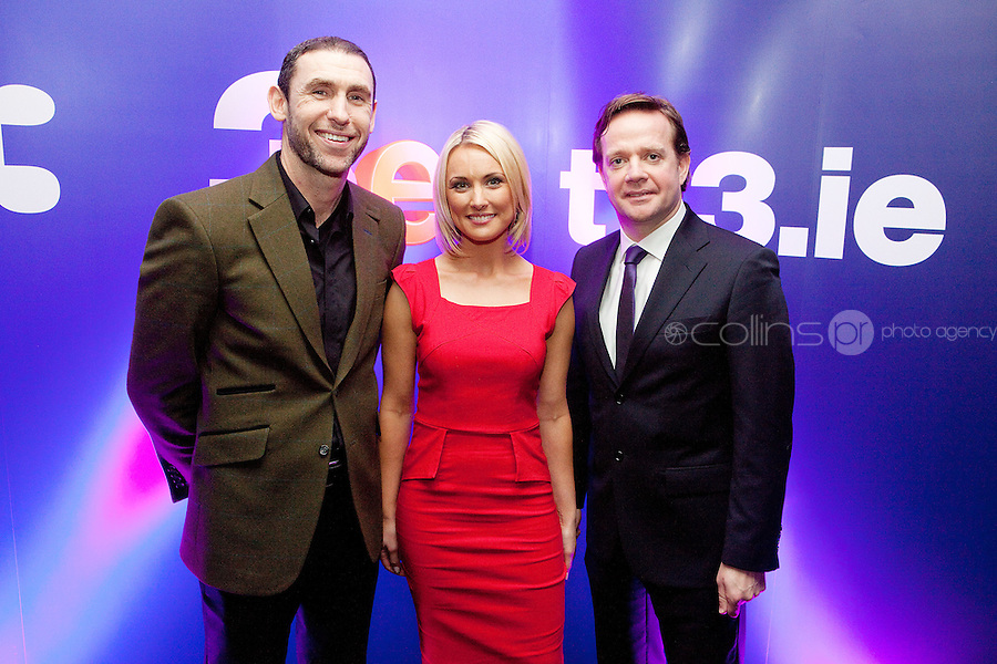 3/3/2011. TV3 SPRING SCHEDULE LAUNCH. Pictured at the Aviva Stadium for the launch of the TV3 spring schedule are Martin Keenan, Kirsteen O Sullivan and Pat Kiely TV3 Communications Director .Picture James Horan/Collins Photos