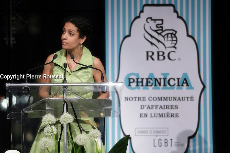La Ministre Dominique Anglade au Gala Phenicia de la Chambre de Commerce LGBT du Qu&eacute;bec, tenu au Parquet de la Caisse de Depots et Placements du Quebec, jeudi, 26 mai 2016.<br /> <br /> <br /> PHOTO : Pierre Roussel -  Agence Quebec Presse