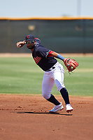 AZL Indians Blue second baseman Aaron Bracho (7) throws to first base during an Arizona League game against the AZL Indians Red on July 7, 2019 at the Cleveland Indians Spring Training Complex in Goodyear, Arizona. The AZL Indians Blue defeated the AZL Indians Red 5-4. (Zachary Lucy/Four Seam Images)