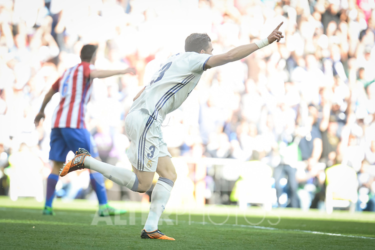 Real Madrid's Pepe celebrating a goal during La Liga match between Real Madrid and Atletico de Madrid at Santiago Bernabeu Stadium in Madrid, April 08, 2017. Spain.<br /> (ALTERPHOTOS/BorjaB.Hojas)