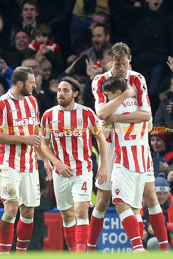 Peter Crouch of Stoke City is congratulated after scoring the second goal during Chelsea vs Stoke City, Premier League Football at Stamford Bridge on 31st December 2016