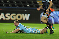 Nick Grigg of Glasgow Warriors scores his sides fourth try during the Guinness Pro14 Round 8 match between the Ospreys and Glasgow Warriors at the Liberty Stadium in Swansea, Wales, UK. Friday 2nd November 2018