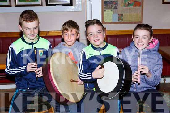Daniel Kelly, Darrell O'Connor, Bryan O'Leary and Becky Kelly playing some tunes at the Kilcummin Comhaltas on Friday night