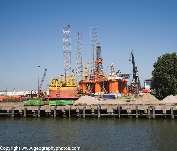 Cranes on quayside Verolme shipyard Port of Rotterdam, Netherlands