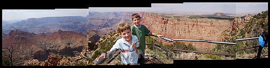 nathaniel nelson and noah nelson at south rim Grand Canyon<br />