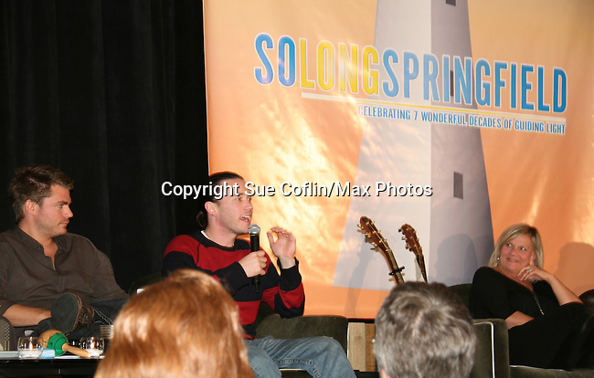 Jeff Branson - Tom Pelphrey - Kim Zimmer at So Long Springfield event brought out Guiding Light Actors as they  came to see fans at the Hyatt Regency in Pittsburgh, PA. for Q & A, acting scenes between actors and fans, and entertainment (singing) by GL finest during the weekend of October 24 and 25, 2009. (Photo by Sue Coflin/Max Photos)