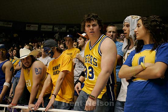 Box Elder vs. Orem, 4A state high school basketball semifinals Friday at Weber State University, Ogden. Box Elder wins. orem fan tells me to stop photographing after his team loses.<br />