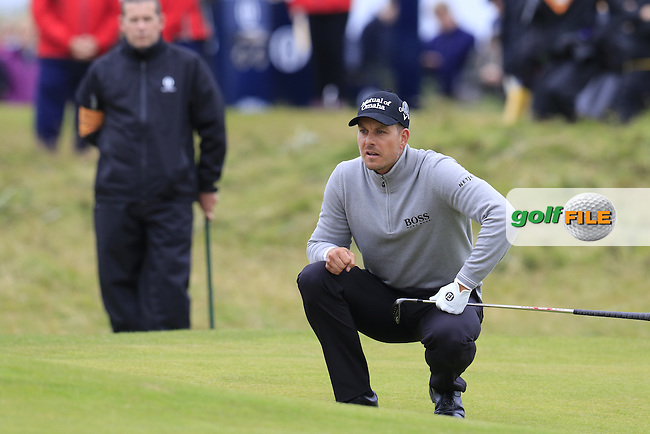 Henrik Stenson (SWE) on the 3rd green during Saturday's Round 3 of the 145th Open Championship held at Royal Troon Golf Club, Troon, Ayreshire, Scotland. 16th July 2016.<br /> Picture: Eoin Clarke | Golffile<br /> <br /> <br /> All photos usage must carry mandatory copyright credit (&copy; Golffile | Eoin Clarke)