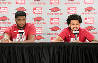 NWA Democrat-Gazette/CHARLIE KAIJO Arkansas Razorbacks forward Trey Thompson (left) and guard Anton Beard (right) field questions during a media conference after the NCAA selection show, Sunday, March 11, 2018 at Bud Walton Arena in Fayetteville. The Razorbacks will play Butler in Detroit on Friday